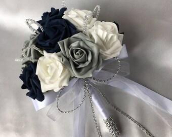 Navy blue bouquet etsy customer order 002 brides bridesmaids posy bouquets buttonholes navy blue mightylinksfo