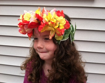 Tropical Flower Crown, Costume Accessory, Girls flower crown, Floral crown, Hawaiian themed party, Luau party, Tropical Flower accessories
