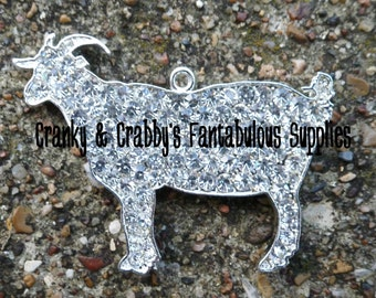 Rhinestone Goat - 47mm X 57mm - livestock  - Chunky Necklace