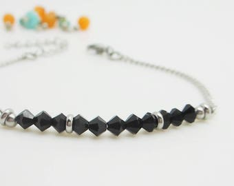 Minimalist adjustable bracelet - silver and black Bracelet - black beads Czech glass beads and chain thin steel.