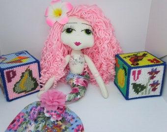 Mermaid doll Coming Soon!! Mermaid Rag Doll, Mermaid Cloth Doll, Handmade Doll