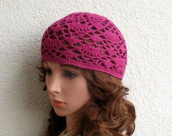 Women's Crochet Summer boho hat Girls summer hat Dark heather Red Fuchsia summer skull hat 100% soft cotton tams hat tight Womens Summer hat