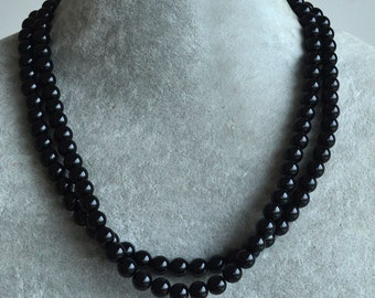 6mm black pearl necklace, 8mm black pearl necklace, 10mm black pearl necklace, two tiers black Pearl Necklace,black glass bead necklace