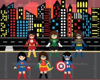 Girl Superhero Clipart, Girl Superheroes Clip Art, Superheroes Clipart, Superhero Buildings Clipart, Superhero Background, Buildings Clipart