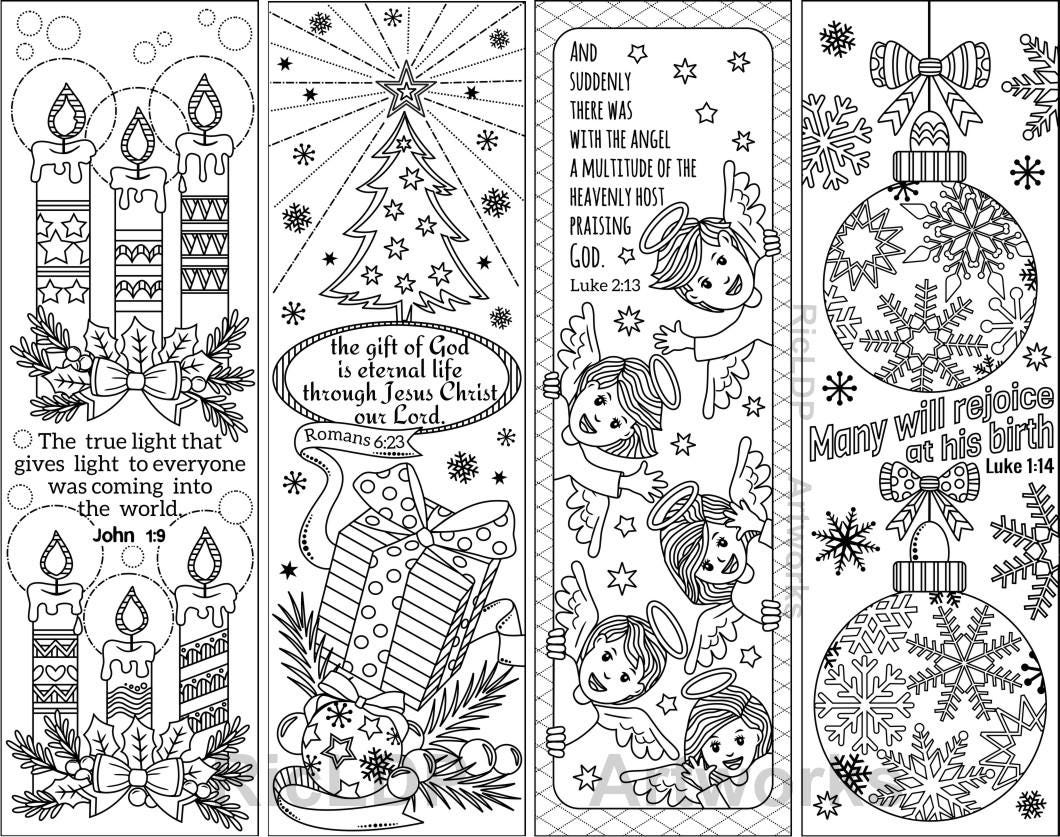 8 Printable Christmas Coloring Bookmarks with Bible Verses