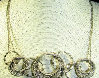 CLEARANCE - 40% OFF!  Laundry by Shelli Segal Interwoven Circles Necklace on Cut Steel-Look Double Chain, Oversized Clasp