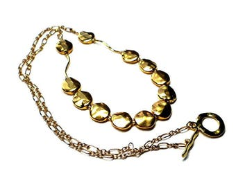 Golden nugget necklace - 24 inch necklace,  gold beads and chain necklace, gold nugget strand, modern minimalist necklace, toggle closure