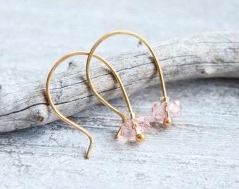 Rose Quartz Earrings Gold, Tiny Rose Quartz Earrings, January Birthstone Gifts, Rose Quartz Gold Earrings, Rose Quartz Jewelry, Gift for Her