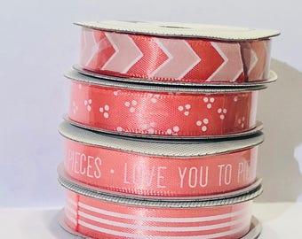 Pink ribbon, ribbon set, ribbon, pink dotted ribbon, zig zag ribbon, ribbon set, love you to pieces ribbon, pink