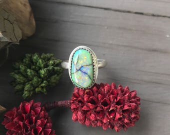 Sterling Silver Cultured Opal Ring