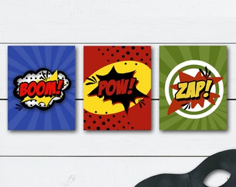 Superhero Wall Art, Super Hero Wall Art, Superhero Prints, Wall Art Super Hero, Superhero Decor, Superhero Party, Pow Zap Boom, Printables