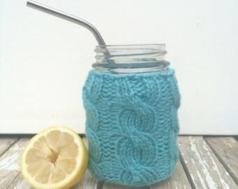 Mason Jar Cozy, Mason Jar Sleeve, Knit Jar Cozy, Knitting Jar Sleeve, Cable Knit Jar Cozy,  Canning Jar Cozy, Aqua Blue, Blue-Green