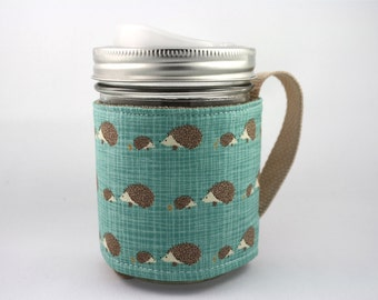 ReFluff, mason jar sleeve, mason jar cozy, eco friendly, porcupine, cute porcupine, teal, illustration, eco gift, cuppow, starbucks,