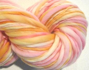 Handspun Yarn Cremesicle 106 yards pink yarn orange yarn hand dyed merino wool waldorf doll hair knitting supplies crochet supplies