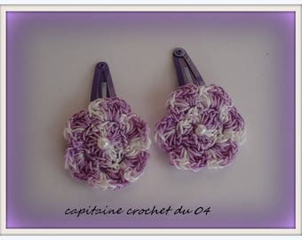 2 hair clips/clip/hair clip for a little girl/hair clip has hair/hair flower/flower/flower/handmade crochet clips clips