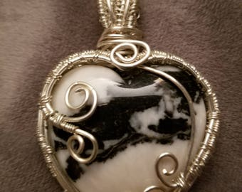 White and Black Marble Heart Pendant