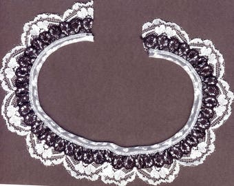 Double gathered lace trim White and Black 15yd   (XD151)