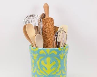 Utensil Holder Kitchen Utensil Holder Ceramic Utensil Holder XL Pottery Utensil Holder Blue & Green Jar Gift for Baker Wedding Gift AM