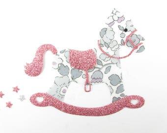 Applique Toy horse, patch baby, nursery decor, fusible appliqué, liberty, baby coat, rocking horse patch applique