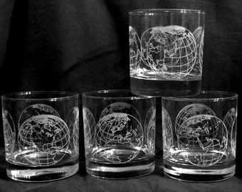 Whiskey Glasses with World Globe Etchings