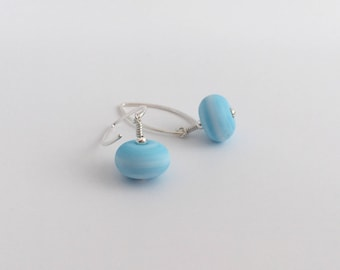Blue Lampwork earrings, light blue earrings, sister gift, gift for mum, gift for her, auntie gift, summer, baby blue, Sterling silver