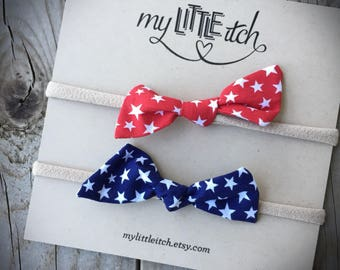 Patriotic Baby Bows, Welcome Home Daddy, Patriotic Baby Headbands, 4th of July Baby Bows, Red White and Blue Baby Bows, Star Bows