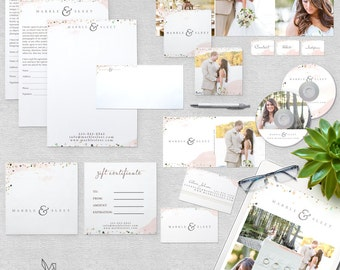 Photography Marketing Set - Hand painted Watercolor Confetti -  Instant Download - Photoshop Template