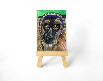 Macaque Monkey Art, ACEO Original, Animal Painting, Wildlife Decor, French Hood, Monkey Wall Art, Monkey Lover, Jungle Animal