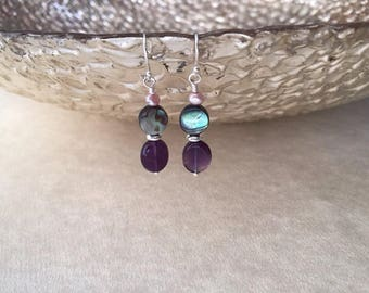 Abalone earrings/ amethyst and abalone earrings/ amethyst earrings/ abalone dangle earrings/ abalone and silver earrings