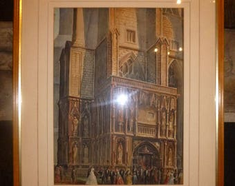 GOTHIC CHURCH Watercolour Painting (After Samuel Prout) Wedding Art Cathedral Vintage
