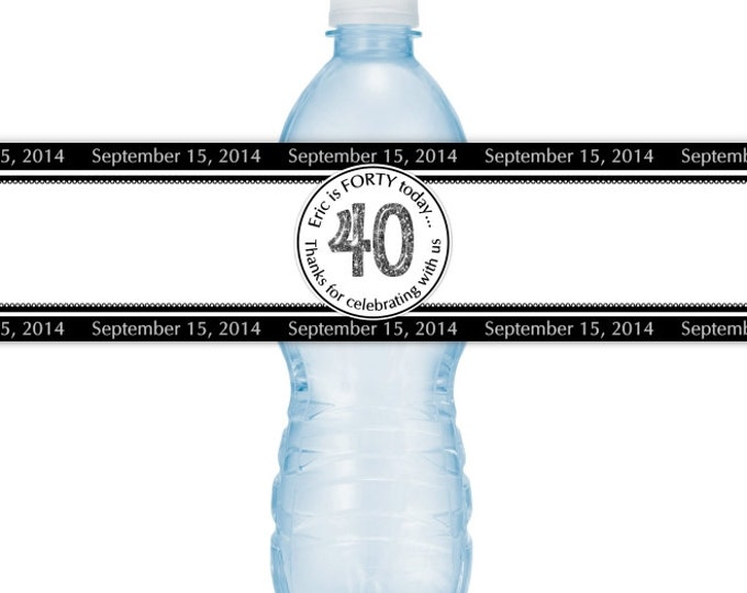 40th Birthday Printable Water Bottle Labels, CUSTOM 40th Birthday, Black and White design, you print, you cut, DIY water bottle labels