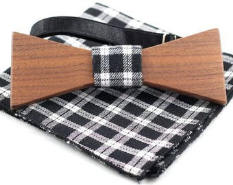 Walnut wooden bow tie +  Pocket Square