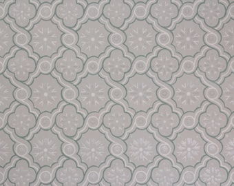 1950s Vintage Wallpaper Blue-Green White and Silver Geometric on Light Blue-Green by the Yard