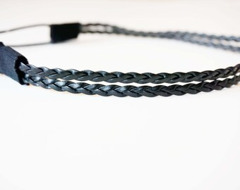 Black Double Strand Braided Leather Headband
