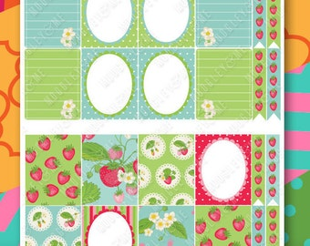 Strawberry Planner Sticker Kit for your Erin Condren Life Planner, Happy Planner, or any daily planner!