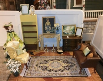 High Quality Dollhouse Furniture living room set lot fireplace brown leather Hansson sofa yellow wingback chair & hand painted painting 1/12
