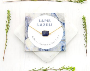 Lapis Lazuli Necklace, Simple Blue Lapis Pendant, September Birthstone Gift, Boho Natural Stone Necklace, Gem Slice, Healing Lapis Lazuli