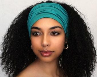 Turquoise Turban Head Band, Yoga headband, Wide Headband, Pretied Turban, Exercise Headband, Emerald Teal 298-13a