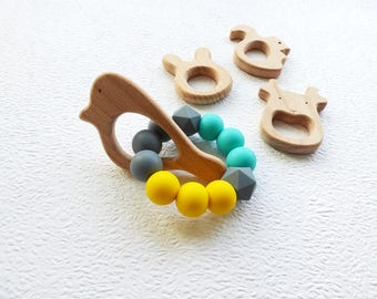 Silicone Teething Toy Teether Wood Bunny Teether Rattle teething toy Newborn baby gift For Baby Shower gift Teething ring Chew bead toy