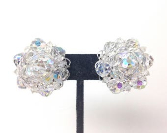 Vintage Estate High End AB Crystal GLASS Stunning Clip On Earrings Christmas Present - Holiday Gift