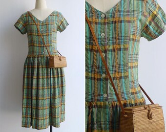 Vintage 80's Green Madras Plaid Dress S