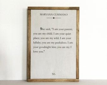 Book page sign, quote sign, literary quote, nursery decor, library decor, cusimano, love