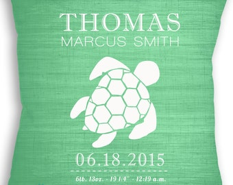 Turtle - Custom Baby Girl or Boy Name Throw Pillow - Nursery - Birth Announcement - Baby Boy or Girl Nursery - Newborn Gift