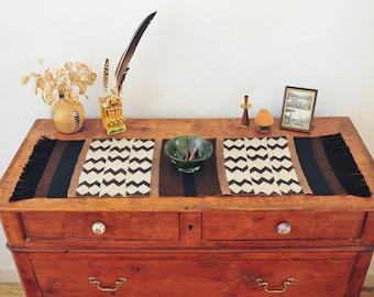 Handwoven table runner/ Loom Work/ Cotton Wool Linen