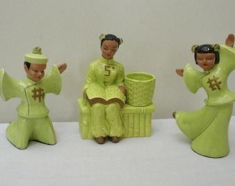 Vintage Kreiss Set of 3 Asian Dancing Figures & Planter