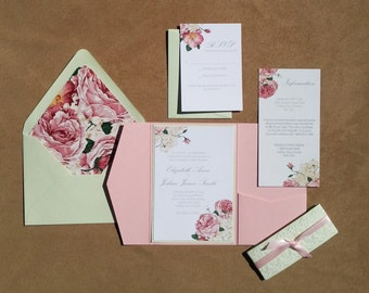 Romantic Floral and Lace Wedding Invitation in Pocket Folder