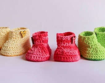 Baby Girl Cotton Booties in Bright Summer Colors