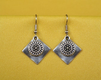 Inca Maya silver sunburst earrings (Style #250S)