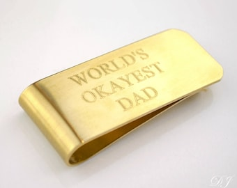 Funny father's day gift for dad from wife, worlds okayest dad Custom money clip, Personalized money clip, Engraved money clip, gift from son