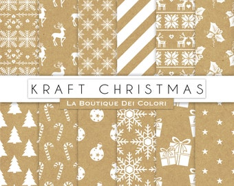 Kraft paper Christmas digital paper, background, christmas tree, stars, snowflakes old, vintage, shabby background for Commercial Use